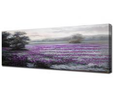 Cuadros en lienzo paisaje con flores lilas panorámicos alargados -Pintura actual pintada a mano con pinturas al oleo - Arte para decoración