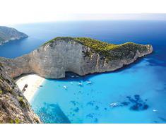 Papel pintado fotográfico que muestra la playa de Zakynthos - isla paradisiaca griega - Poster XXL Base jump - La playa de Navagio en la isla de Zakynthos - papel pintado que mu estra la playa de una isla jónica by GREAT ART (210 x 140 cm)