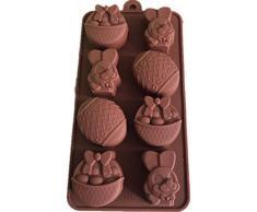 MKNzone 1 Moldes de Silicona DIY, Tartas, Chocolate - Huevos de Pascua y Conejo, Entrega de Color Aleatorio(7.9 X 6.9 X 1.4 cm)