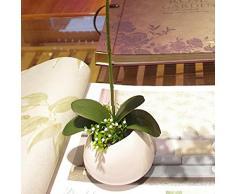 SODIAL(R) 1 rama Hoja de simulacion Decoracion verde de orquidea de mariposa artificial de casa