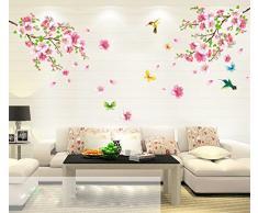ufengke® Flores de Durazno Románticas y los Pájaros Que Vuelan Pegatinas de Pared, Sala de Estar Dormitorio Removible Etiquetas de la Pared / Murales