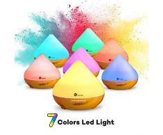 300ml Humidificador Aromaterapia TaoTronics Difusor Aroma de Aceites Esenciales (Luz nortuna, 2 modos, ambientador de vapor frío, 7 colores, auto-apagamiento) 13W para Yoga, Dormitorio