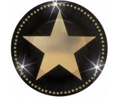 Amscan 549016 - Juego de 8 platos, diseño de estrella, color dorado