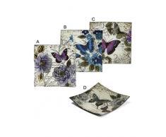 Home Line Platos Decorativos (24x24 cm) Cuadrados de Mariposa 4 Modelos - A