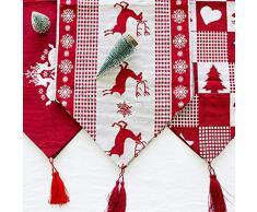 Chytaii Bandera de Mesa Triángulo Navidad Rojo Mantel Navidad Pascua Tela Mantel de Mesa Antimanchas Rectángulo de Lino Estampado Decoracion Hogar Patrón de Alce Navidad Alegría Festiva 170 * 35CM