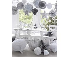 Talking Tables de Navidad de copo de nieve ventilador decoración plateado/blanco/gris x 3