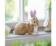 Villeroy & Boch Figura Decorativa de Conejo de Pascua (Porcelana Dura, 13 x 8 x 13 cm), Carbón, Medio