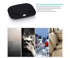 Coche purificador de aire ambientador Limpiador iónico del ionizador eliminar el polvo / polen / humo / Olor Olor con USB 12V Cable de alimentación Puerto del cargador del coche , black
