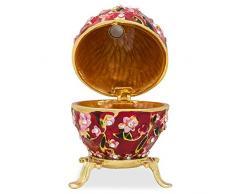 """2,75 """"rojo flores esmaltado Faberge inspirado ruso huevos de Pascua"""