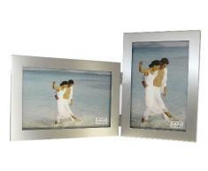Cepillado satén doble de color plata aluminio cuadro 2 doble plegable foto marco regalo - toma 2 fotografías estándar 6 x 4 pulgadas (1 estilo de retrato y 1 paisaje)
