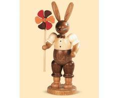 Conejo de Pascua señor conejo con molinete, 11 cm. de alto, natural, original de los Montes Metálicos (Erzgebirge) hecho por la empresa Müller del pueblo de Seiffen