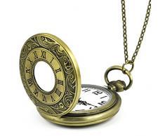 Gleader Collar Colgante Reloj de Bosillo Antiguo Estilo Romano