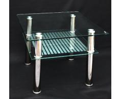 ts-ideen - Mesa Auxiliar (Cristal, 60 x 60 cm, Acero Inoxidable, Vidrio Templado de 10 mm)