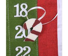 Takefuns Calendario de Adviento con diseño de Papá Noel, 24 días de Navidad, diseño de Navidad, para Navidad, decoración del hogar, Tela, A2, A2