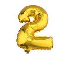 V-SOL Globos De Números Para Fiestas De Cumpleaños Boda Velada Navidad 16 Pulgada Número 2-Dorado