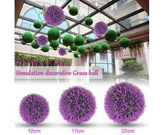 bola artificial de la planta simulación decorativa del boj bola de la hierba plástica greenery globo púrpura de la lavanda para el centro comercial de la boda decoración del hogar de la Navidad (2pcs, los 22cm)