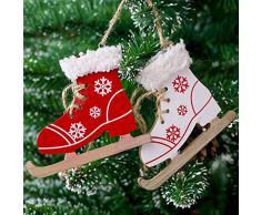Fossrn Navidad Decoracion Arbol Adornos Colgante Patrón de copo de nieve Botas de trineos de madera