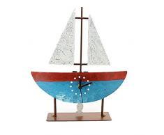 Reloj De Pie Velero - azul/rojo - Comercio Justo - Metal Reloj