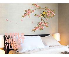 ufengke® Hermosas Flores Rama de Árbol Pájaros Lindos Pegatinas de Pared, Sala de Estar Dormitorio Removible Etiquetas de La Pared / Murales