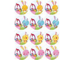 12 x Cakeshop decoración para pasteles comestibles PRECORTADAS de Conejo de Pascua