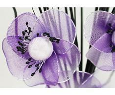 Flourish 723385 – qh1 Jarrón pequeño con Cadbury Morado y Blanco Flores de nailon artificiales en jarrón, diseño Home Accessorie, 32 cm, color morado