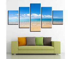 Mddjj Hd Hermoso Paisaje Marino Fotos Decoración Impresa Dormitorio 5 Unidades Cielo Azul Playa Nube Blanca Lienzo Cuadros Marco Modular Arte De La Pared