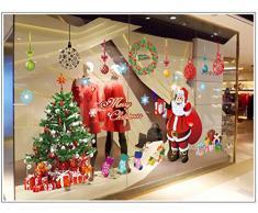 Navidad Decoracion Vinilo pegatina pared - Árbol Papá Noel - salón dormitorio escaparate extraíble pegatinas murales pared
