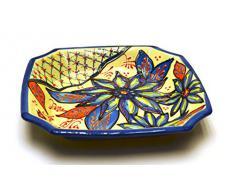 PLATO OCTOGONAL Nº1 en ceramica hecho y pintado a mano con decoración flor. 20 cm x 20 cm (FLOR MARINA AZUL)