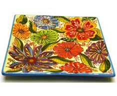 PLATO CUADRADO 25X25 en ceramica hecho y pintado a mano con decoración flor. 25 cm x 25 cm (AZUL CELESTE)