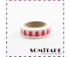 Rojo árbol de Navidad blanco cinta adhesiva con estampado, Craft cinta decorativa