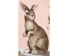 dekojohnson Figura Decorativa de Conejo de Pascua, Resistente a la Intemperie, decoración de jardín, decoración de Pascua, Natural, marrón, Sentado, 42 cm