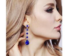 Clearine Mujeres Elegante Boda Nupcial Cristal Rebordeado Lágrima Candelabro Colgar Pendientes Azul Plata Ton