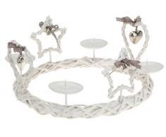 Corona de adviento 33 cm blanco - country Xmas serie - estrella corazón Portavelas
