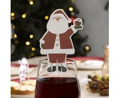 Decoración navideña para cristal Let It Snow con diseño de Papá Noel, multicolor, 10 unidades, de la marca Neviti