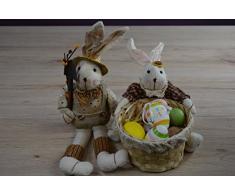 Hossner Par de Pascua Pascua Decorativos con Cesta para Huevos Plástico – Figura Decorativa de Conejo de Pascua Conejo de Pascua par de 2 Piezas 30 y 40 cm