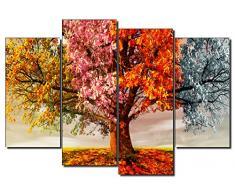 DekoArte 402 - Cuadro moderno en lienzo 4 piezas paisaje en árbol cuatro estaciones, 120x3x90cm