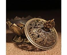xiduobao metal de aleación Flor de Lotus quemador de incienso buda quemador de incienso soporte Vela censer- budista decoración, decoración del hogar. (grande), small