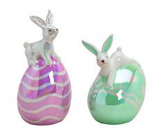 Figura Decorativa de Conejo en Huevo de Pascua de cerámica Brillante de Colores de 2 Capas, Aprox. 6 x 14 x 6 cm, 8 x 11 x 6 cm. Ideal como Regalo y como decoración.