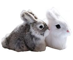 Conejo (2 unidades, Pascua, Figura de conejo pelo, conejo animales figura decorativa de Pascua conejo Piel