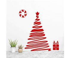 XCGZ Pegatinas de pared Cinta Roja Guirnalda Navidad Árbol Pegatinas De Pared para La Tienda Decoración del Hogar DIY Tatuajes De Ventanas Festival De Navidad De Pared De Vinilo Arte Mural