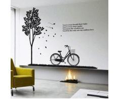 Vinilo decorativo pegatina pared, cristal, puerta (Varios colores a elegir)- bicicleta con arbol