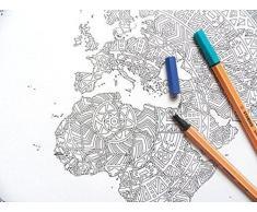 mapa del mundo poster - El gigante para colorear - mapas de viaje - Etsy mapa ventas - impresión del arte - página para colorear mandala - Dibujo Mandala - colorear adultos