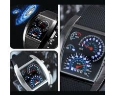 Turbo Blanco Azul Binario LED de matriz de puntos exhibición de múltiples funciones del reloj de la Aviación - Dial Negro / Blanco Dial