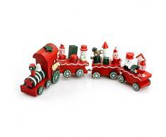 ruiio Mini lindo de madera de Navidad adorno de árbol de Papá Noel de Navidad tren para decoración Decor Regalo para niños juguete