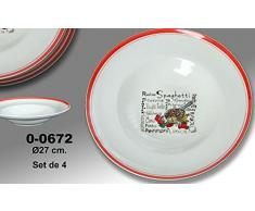 Supernova Decoracion-Set 4 platos para pasta decorados con dibujos de colores y filo color rojo . Medidas 27 cm