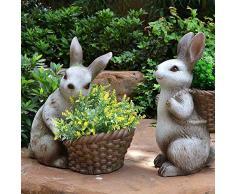 Aida Bz Conejo Escultura Maceta, jardín césped decoración de balcón Maceta Animales al Aire Libre de Pascua Decoraciones al Aire Libre,A