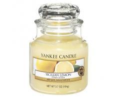 Yankee Candle Classic Housewarmer Pequeña, Sicilian Lemon, Vela Perfumada, Ambiente Fragancia en Vaso / Jar, 1230637E