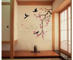 PopDecors pegatinas de pared - rama de cerezo en flor - vinilo reutilizable de flor decorativo para pared para sala de estar