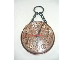 Reloj a sartén de cobre bruñido rústico con cadena de hierro 18 cm