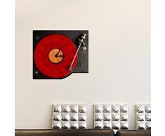 Bluelover PAG la etiqueta ENGOMADA 3D pared reloj etiquetas jugador viejo gramófono pared pegatina hogar decoración regalo